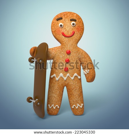 gingerbread man with chocolate skateboard, 3d cookie cartoon character illustration - stock photo