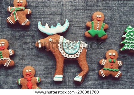 gingerbread men, ginger Christmas tree, Christmas decorations.Christmas deer - stock photo