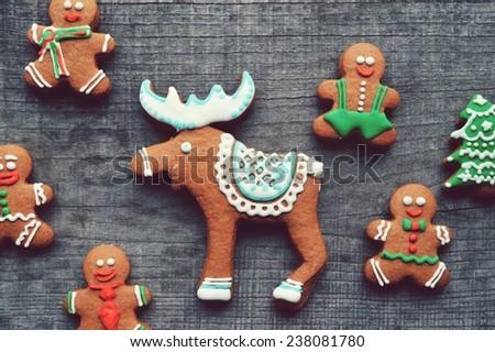 gingerbread men, ginger Christmas tree, Christmas decorations.Christmas deer - stock photo