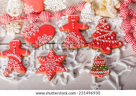 gingerbread painted icing, national ornament, Christmas and New Year - stock photo