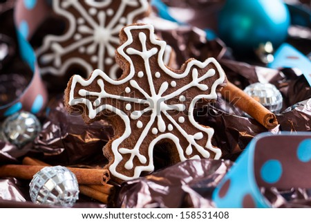 Gingerbread Snowflake Cookies with decoration - stock photo