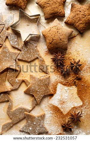 Gingerbread stars. Christmas cakes.Fresh dough for gingerbread