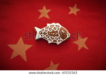gingerbread with fish symbol for christmas