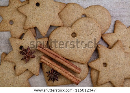 Gingerbreads in Heart and Star Shape with dried Spices