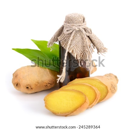 Gingers essential oil. Isolated. - stock photo