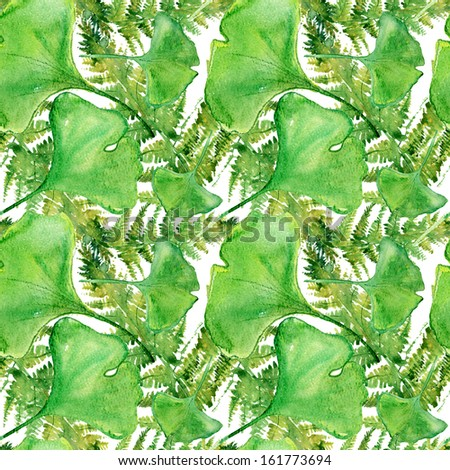 Ginkgo and Fern Seamless Pattern. watercolor - stock photo