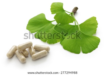 ginkgo biloba leaves and medicine capsule pills on white background - stock photo