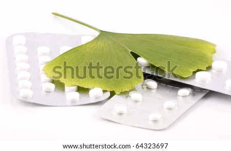Ginkgo biloba on white background - stock photo