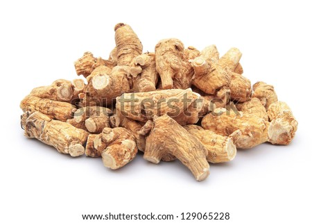 ginseng stack up on a white background