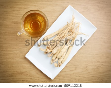 Ginseng tea ,Dry ginseng roots, The concept of healthy drink.