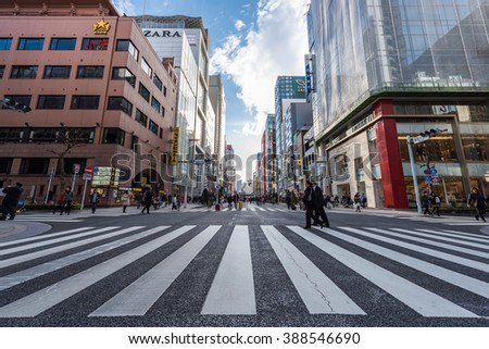 GINZA - TOKYO 0 JAPAN - FEB 2016 : Ginza Walking Shopping Street during the weekend (Traffic Closed) on 13 Feb 2016