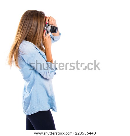 Gir photographing over white background