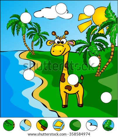 Giraffe and palm trees on the tropical island: complete the puzzle and find the missing parts of the picture.  illustration. Educational game for kids
