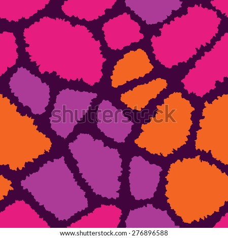 Giraffe fur texture pattern in wild colors repeats seamlessly. - stock photo