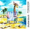 Giraffe in dressing room on the beach.Picture I have created with watercolors. - stock photo
