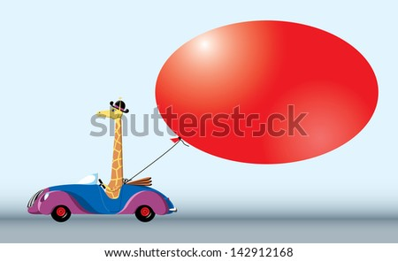 Giraffe on the car with red bubble