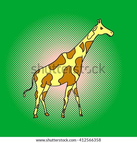 Giraffe pop art raster. Beautiful adult Giraffe looking at us, illustration isolated on white - stock photo