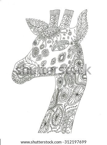 Giraffe Portrait Coloring Page