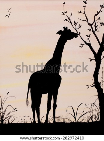 Giraffe silhouette eating from a tree painting - stock photo