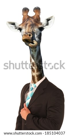 Giraffe with long neck and awkward look on man's body