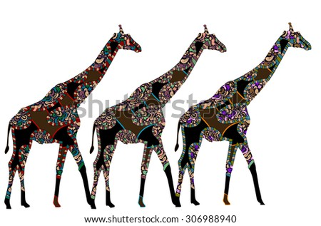 giraffes in ethnic style on a white background - stock photo