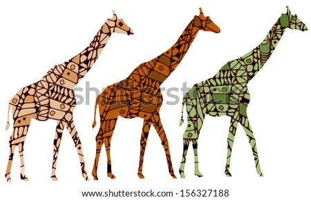 Giraffes in the ethnic style of the various elements on a white background - stock photo