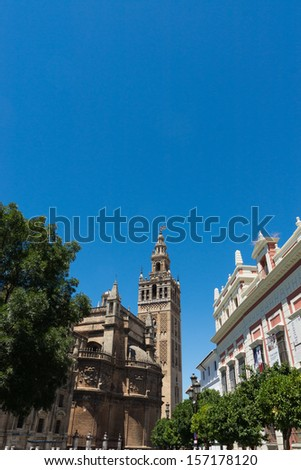 Giralda tower and Cathedral of Seville, Andalusia, Spain.  - stock photo