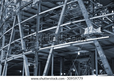 girders being constructed - stock photo