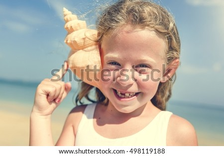 Girl Adolescence Child Shell Summer Happiness Concept