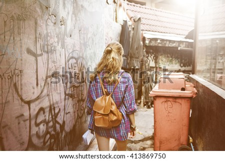 Girl Adventure Traveling Holiday Walking Alleyway Concept - stock photo