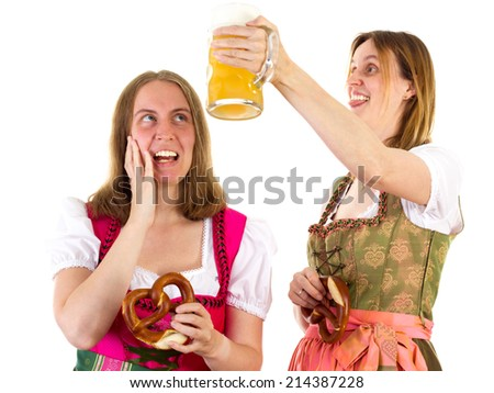 Girl afraid about shower with beer - stock photo