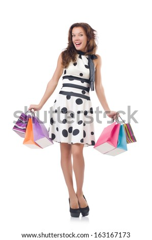 Girl after good shopping on white