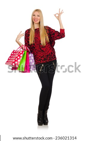 Girl after good shopping on white - stock photo