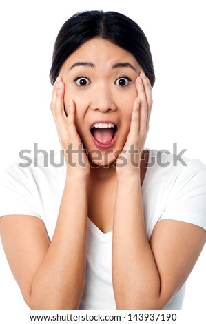 Girl amazed after hearing the news - stock photo