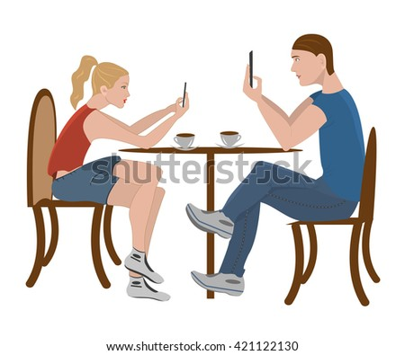 girl and a boy sitting in a cafe and chat on smartphone. People, education, technology and colleg concept - happy students with smartphone in cafeteria. Friends on  white background. - stock photo