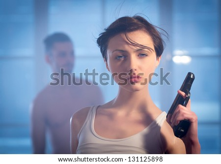 girl and a guy in a quarrel - stock photo
