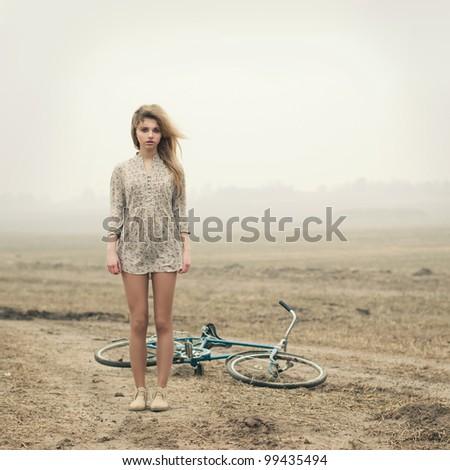 girl and bike - stock photo