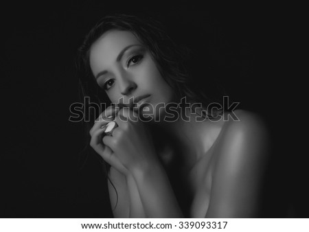 Girl and black background