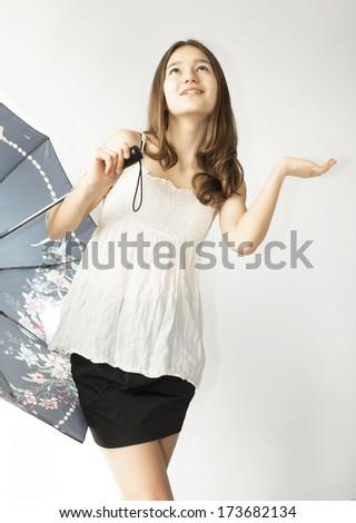 girl and black umbrella - stock photo