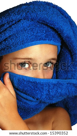 Girl and blue towel