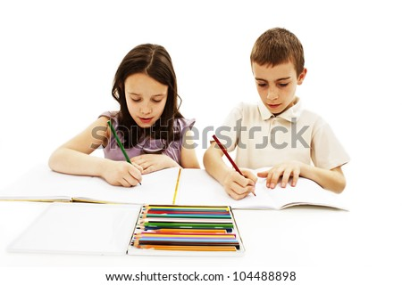 Girl and boy are painting. Isolated on white background - stock photo