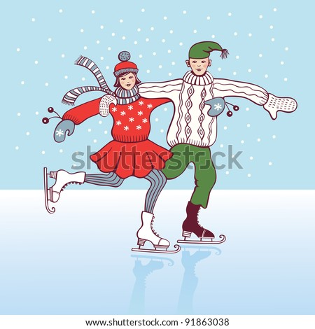 Girl and boy ice skating and having fun in the snow. Vector version also available in my portfolio. - stock photo