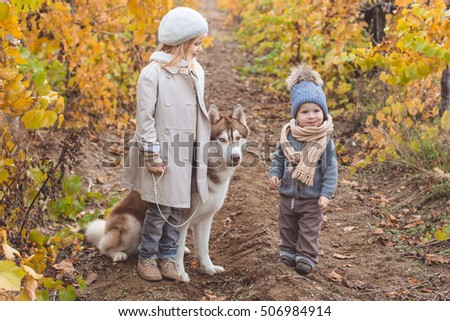Girl and boy in vineyard with husky dog