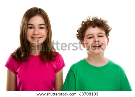 Girl and boy isolated on white background - stock photo