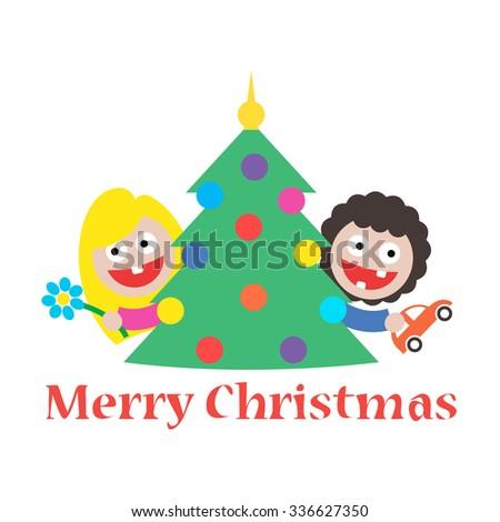 girl and boy merry christmas gift tree - stock photo