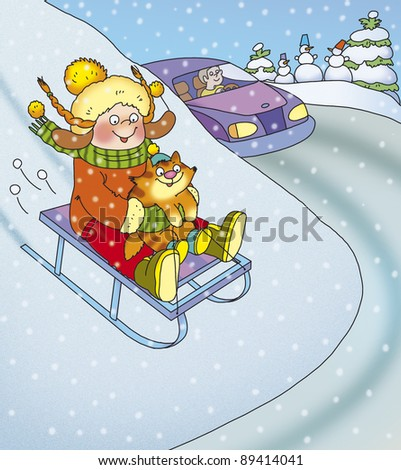 Girl and cat on a sled ride down the hills near the road - stock photo