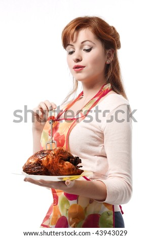 Girl and chicken - stock photo