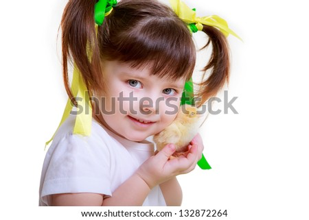 girl and chicks, Easter
