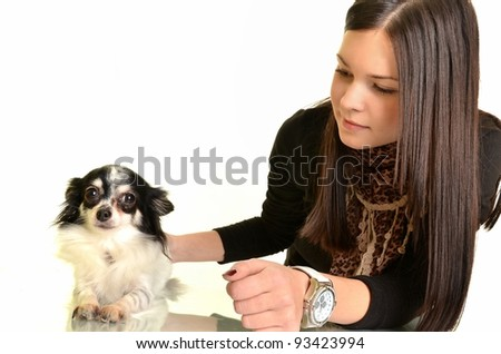 girl and chihuahua