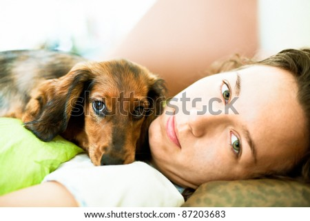 Girl and Dachshund